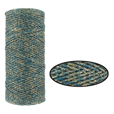 Waxed cotton cord, 1mm, teal and gold, metallic, 100 meters. Made in Europe