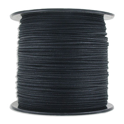 Waxed cotton cord, 1mm, black, 150 yards (137.5m)