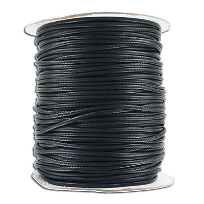 Waxed cotton cord, 2mm, 100 yards spool, black