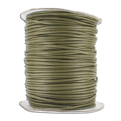 Waxed cotton cord, 2mm, 100 yards spool, khaki