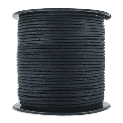 Waxed cotton cord, 2mm, black, 75 yards (68.57m)