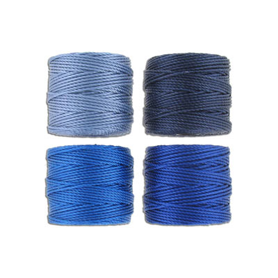 Thread s-lon tex 400 heavy macrame cord, 4 spools/pkg, 35 yards, blue mix