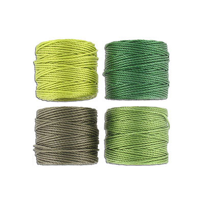 Thread s-lon tex 400 heavy macrame cord, 4 spools/pkg, 35 yards, green mix