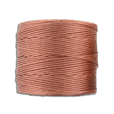 Thread s-lon bead cord, 0.50mm, each spool: 70.4 meters (77 yards), copper, (4 spools/pkg)