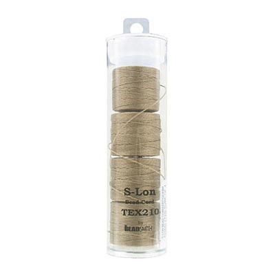 Thread s-lon bead cord, 0.50mm, each spool: 70.4 metres (77 yards), khaki, (4 spools/pkg)