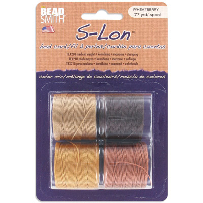 Thread s-lon bead cord, each spool: 70.4 metres (77 yards) wheat berry (4 spools/pkg)