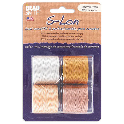 Beadsmith thread s-lon bead cord, each spool: 70.4 metres (77 yards) cream, light copper, light peach, light gold (4 spo