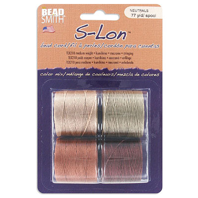 Beadsmith thread s-lon bead cord, each spool: 70.4 metres (77 yards) brown, khaki, copper, light brown (4 spools/pkg)