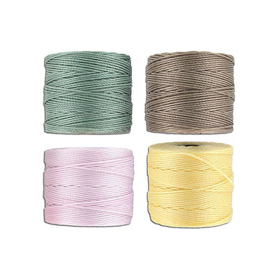Beadsmith thread s-lon bead cord, each spool: 70.4 metres (77 yards) blush, sand, sunlight, vintage jade (4 spools/pkg)