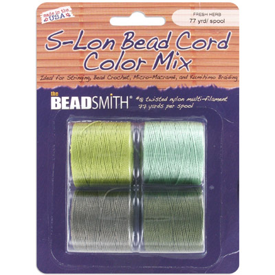 Thread s-lon bead cord, each spool: 70.4 metres (77 yards) fresh herbs tones (4 spools/pkg)