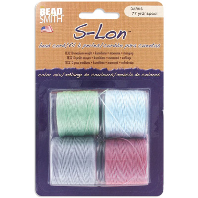 Thread s-lon bead cord, each spool: 70.4 metres (77 yards) pastel tones (4 spools/pkg)