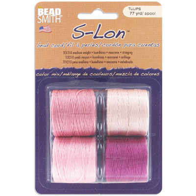Thread s-lon bead cord, each spool: 70.4 metres (77 yards) tulip tones (4 spools/pkg)
