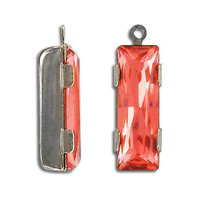 Swarovski mounted jewel, princess baguette, with loop, padparadscha, silver plate