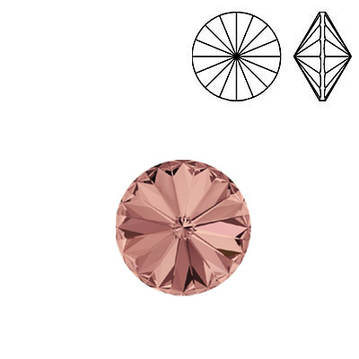Crystal Swarovski 1122, Rivoli Chaton Crystal Rhinestone. Blush Rose color. 12mm size.