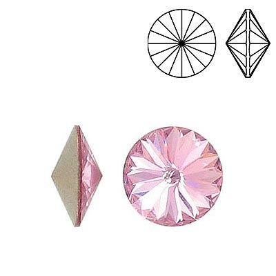 Crystal Swarovski 1122, Rivoli Chaton Chrystal Rhinestone. Light Rose color. 12mm size.