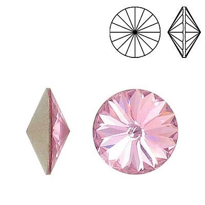Crystal Swarovski 1122, Rivoli Chaton Crystal Rhinestone. Light Rose color. 14mm size.