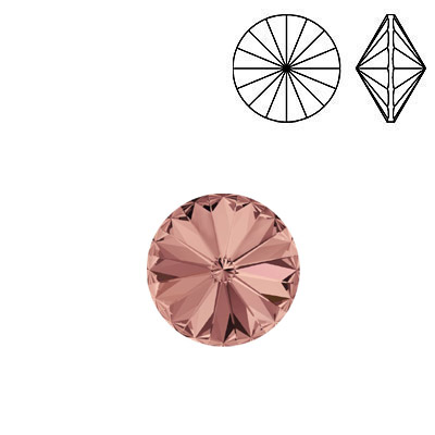 Crystal Swarovski 1122, Rivoli Chaton Crystal Rhinestone. Blush Rose color. SS47 size.