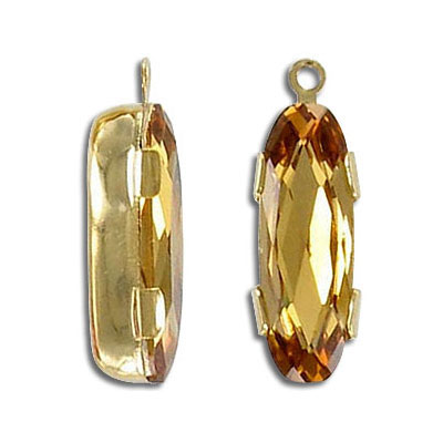 Mounted jewel, oval, with loop, light Colorado topaz, gold plate