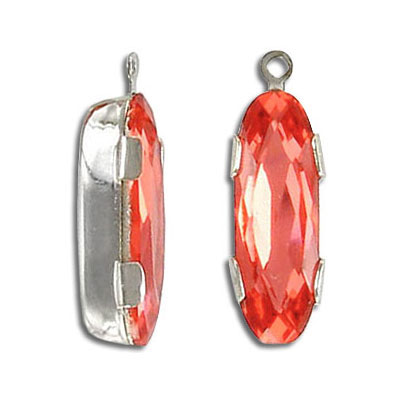 Mounted jewel, oval, with loop, padparadscha, rhodium plate