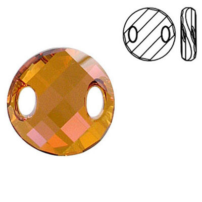 Crystal Swarovski 3221, Twist Sew-on Stone. Crystal Copper coating. 18mm size.