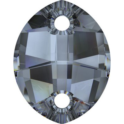 Crystal Swarovski 3224, Pure Leaf Sew-on Stone. Unfoiled. Crystal Blue Shade coating. 23mm size.