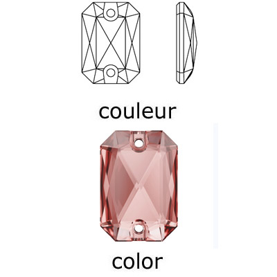Crystal Swarovski 3252, Emerald Cut Sew-on Stone. Vintage Rose color. 14x10mm size.