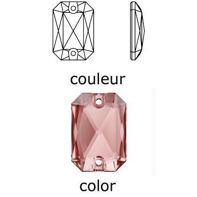 Crystal Swarovski 3252, Emerald Cut Sew-on Stone. Vintage Rose color. 20x14mm size.