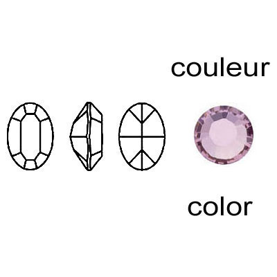 Crystal Swarovski 4100, Fancy Oval Stone. Light Amethyst color. 8x6mm size.