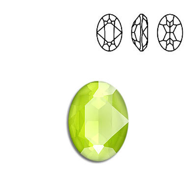 Crystal Swarovski 4120, Oval Fancy Stone. Crystal Lime color. 18x13mm size.