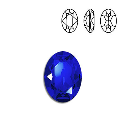 Crystal Swarovski 4120, Oval Fancy Stone. Majestic Blue color. 18x13mm size.