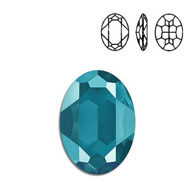 Crystal Swarovski 4127, Oval Fancy Stone. Crystal Azure Blue color. 30x22mm size.