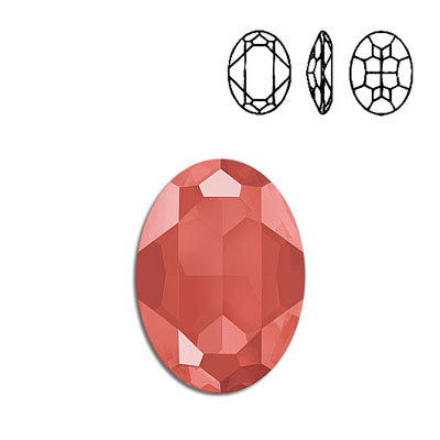 Crystal Swarovski 4127, Oval Fancy Stone. Crystal Light Coral color. 30x22mm size.