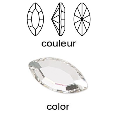 Czech machine cut crystal, navette, crystal color, 15x7mm size