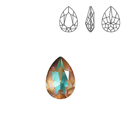 Crystal Swarovski 4320, Pear Fancy Stone. Crystal Cappuccino DeLight color. 14x10mm size.