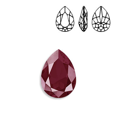 Crystal Swarovski 4320, Pear Fancy Stone. Crystal Lacquer Dark Red color. 18x13mm size.