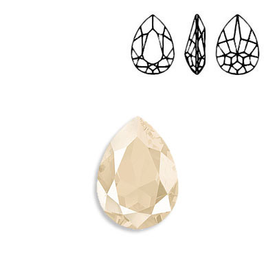 Crystal Swarovski 4320, Pear Fancy Stone. Crystal Lacquer Ivory Cream color. 18x13mm size.