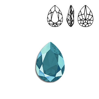 Crystal Swarovski 4320, Pear Fancy Stone. Crystal Azure Blue color. 18x13mm size.