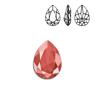 Crystal Swarovski 4320, Pear Fancy Stone. Crystal Light Coral color. 18x13mm size.