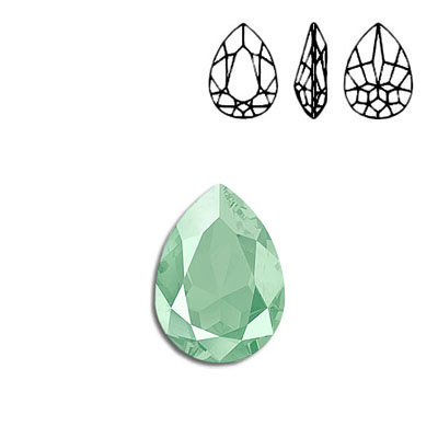 Crystal Swarovski 4320, Pear Fancy Stone. Crystal Mint Green color. 18x13mm size.