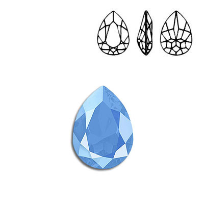 Crystal Swarovski 4320, Pear Fancy Stone. Crystal Summer Blue color. 18x13mm size.
