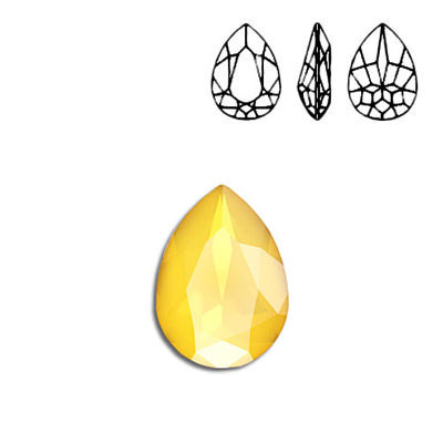 Crystal Swarovski 4320, Pear Fancy Stone. Crystal Buttercup color. 18x13mm size.