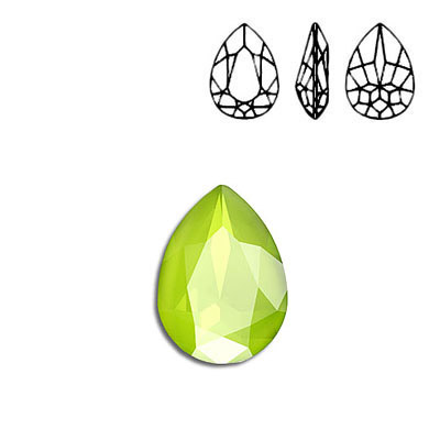 Crystal Swarovski 4320, Pear Fancy Stone. Crystal Lime color. 18x13mm size.