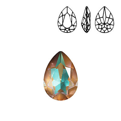 Crystal Swarovski 4320, Pear Fancy Stone. Crystal Cappuccino DeLight color. 18x13mm size.