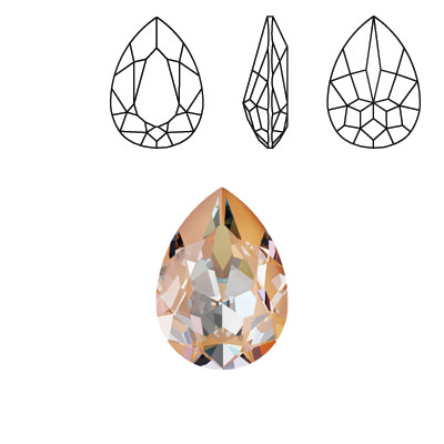 Crystal Swarovski 4320, Pear Fancy Stone. Crystal Peach DeLight color. 18x13mm size.