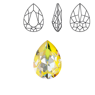 Crystal Swarovski 4320, Pear Fancy Stone. Crystal Sunshine DeLight color. 18x13mm size.