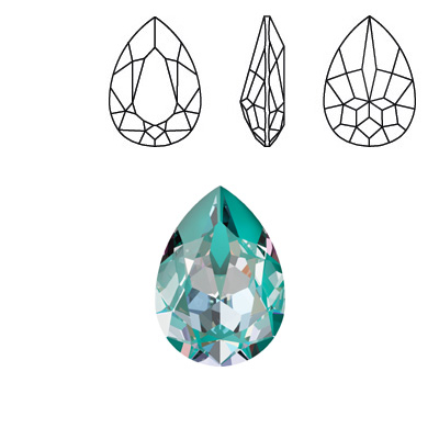 Crystal Swarovski 4320, Pear Fancy Stone. Crystal Laguna DeLight color. 18x13mm size.