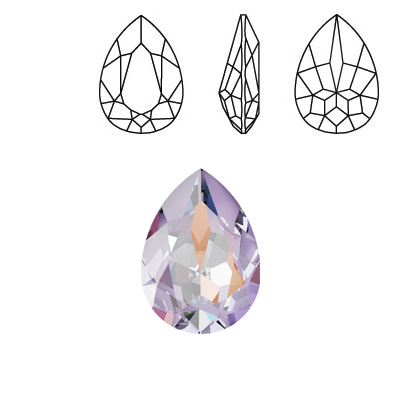 Crystal Swarovski 4320, Pear Fancy Stone. Crystal Lavender DeLight color. 18x13mm size.