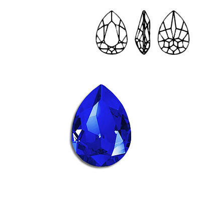 Crystal Swarovski 4320, Pear Fancy Stone. Majestic Blue color. 18x13mm size.