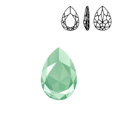 Crystal Swarovski 4327, Pear Fancy Stone. Crystal Mint Green color. 30x20mm size.