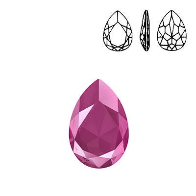 Crystal Swarovski 4327, Pear Fancy Stone. Crystal Peony Pink color. 30x20mm size.